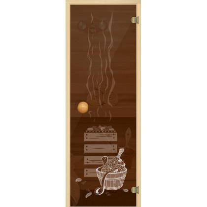 """Дверь для сауны (коробка из осины,стекло, бронза """"Банька"""") 690*1890"""