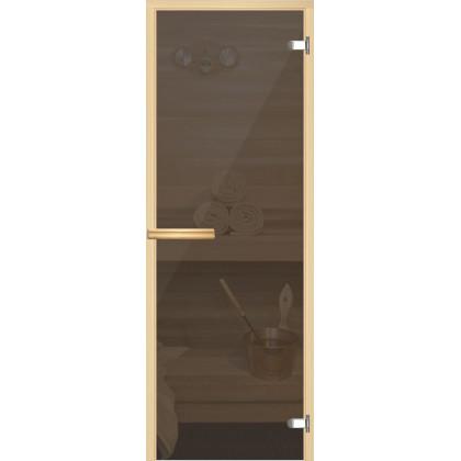Дверь для сауны 214 (коробка осина,стекло серое прозрачное) 690*1890