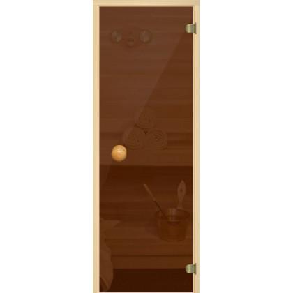 Дверь для сауны 220A (коробка из осины,стекло, бронза) 690*1890