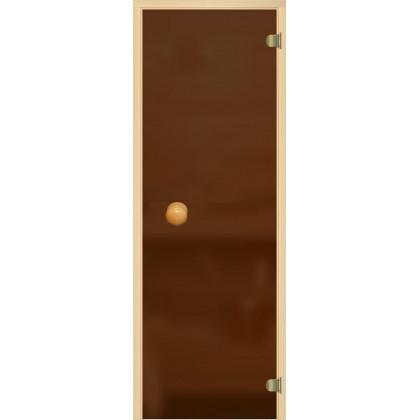 Дверь для сауны 221A (коробка из осины,стекло, бронза матовое) 690*1890