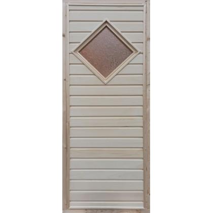 """Дверь для бани (стекло """"Ромб"""", осиновая вагонка) 700 х 1800 (с коробкой)"""