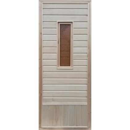 """Дверь для бани (стекло """"Окно"""", осиновая вагонка) 700 х 1800 (с коробкой)"""