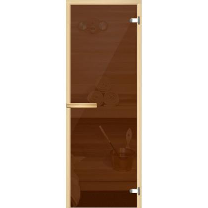 Дверь для сауны 217M (коробка осина,стекло бронза) 690*1890