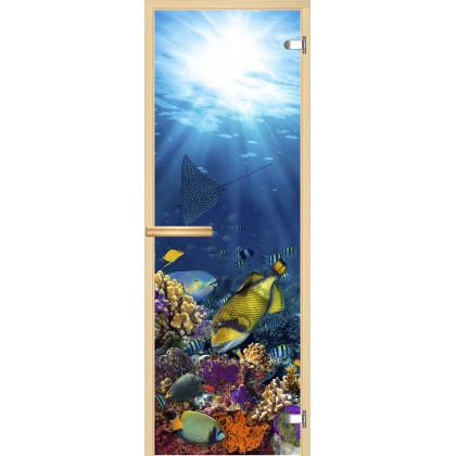 Дверь для сауны А085 (коробка липа,стекло прозрачное) 690*1900