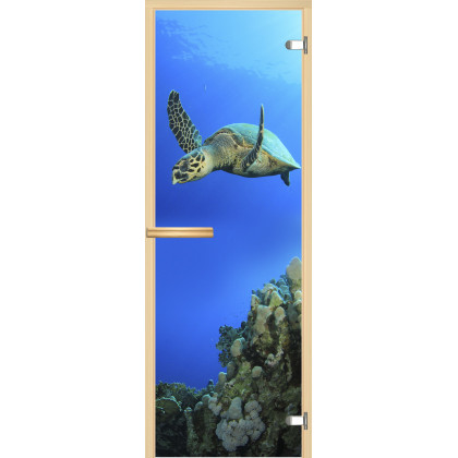 Дверь для сауны А086 (коробка липа,стекло прозрачное) 690*1901