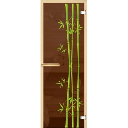 """Дверь для сауны """"Африка"""" (коробка липа,стекло бронза) 690*1900"""