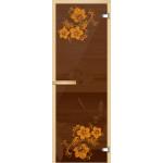 """Дверь для сауны """"Герань"""" (коробка липа,стекло бронза) 690*1901"""