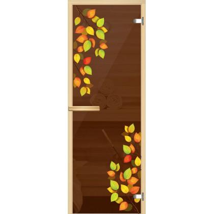 """Дверь для сауны """"Осень"""" (коробка липа,стекло бронза) 690*1904"""
