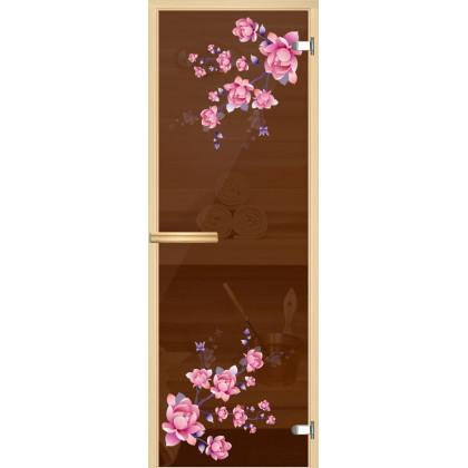 """Дверь для сауны """"Шиповник"""" (коробка липа,стекло бронза) 690*1902"""