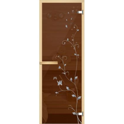 """Дверь для сауны """"Ветка"""" (коробка липа,стекло бронза) 690*1903"""