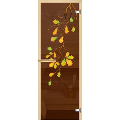 """Дверь для сауны """"Ветка дуба"""" (коробка липа,стекло бронза) 690*1907"""
