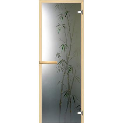 """Дверь для сауны """"Бамбук"""" (фьюзинг, коробка липа,стекло на выбор) 690*1892"""