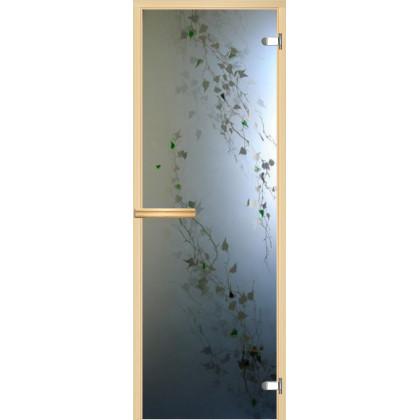"""Дверь для сауны """"Березка"""" (фьюзинг, коробка липа,стекло на выбор) 690*1891"""
