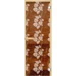 """Дверь для сауны """"Белые листья"""" (коробка липа,стекло бронза) 690*1893"""