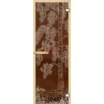 """Дверь для сауны """"Дерево с водой"""" (коробка липа,стекло бронза) 690*1897"""