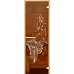 """Дверь для сауны """"Девушка"""" (коробка липа,стекло бронза) 690*1892"""