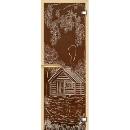 """Дверь для сауны """"Дом с лебедями"""" (коробка липа,стекло бронза) 690*1898"""