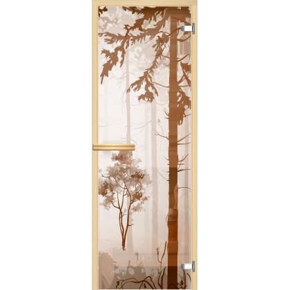 "Дверь для сауны ""Лес V1"" (коробка липа,стекло бронза) 690*1895"