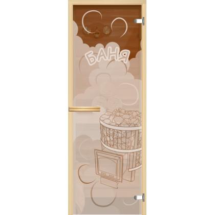 """Дверь для сауны """"Парок В1"""" (коробка липа,стекло бронза) 690*1896"""